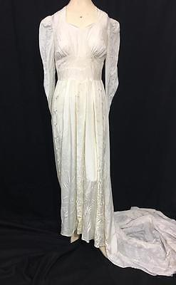 Antique 40's Ivory Satin Wedding Dress with Embroidered panels