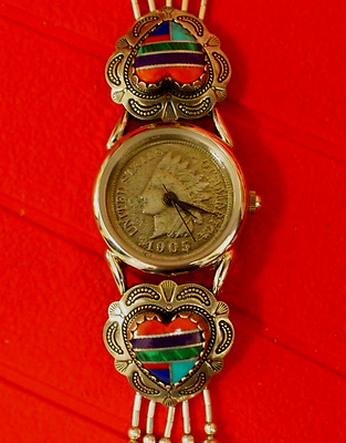 Vintage Indian Head Penny Lady's Watch w/Sterling Bracelet By James B. Longacre