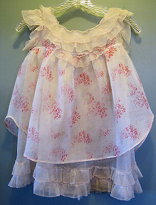 Child's VINTAGE 1920's ORGANDY NET DRESS Pale Pink with Floral Pattern