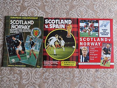 SCOTLAND v NORWAY 25/10/78, SPAIN 14/11/84, NORWAY 15/11/89. Euros and World Cup