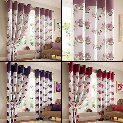 Hibiscus Floral Eyelet Ring Top Fully Lined Curtains Purple Mauve Heather Red