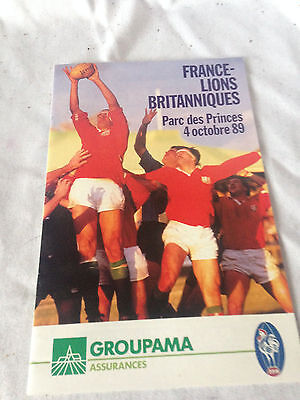 BRITISH LIONS 1989 v FRANCE RUGBY UNION  PROGRAMME EXCELLENT CONDITION