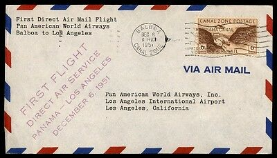 December Six 1951 Canal Zone First Flight Cover Los Angeles California