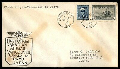 Canada Vancouver To Japan Tokyo 1949 First Flight Cover Cpo