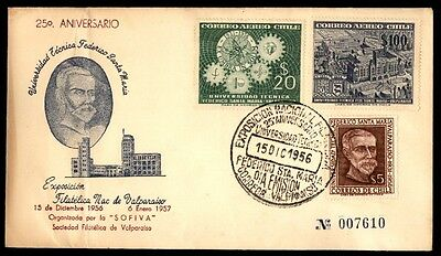 December 15, 1956 Chile philatelic exposition cover with cachet