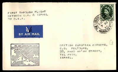 Great Britain To Israel Bea 1957 First Flight Cacheted Cover