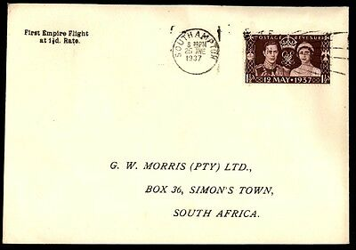 Great Britain To South Africa 1937 First Flight At 1 1/2D Rate Cover