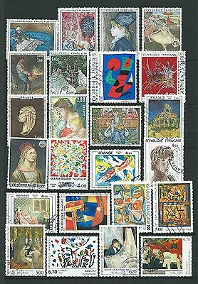 France - Lot Timbres Tableaux - Oblitérés - Set of stamps  -  used -