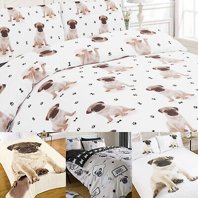 Pug Duvet Cover with Pillow Case Gift Bedding Set OR Puppy Dog Throw Bed Blanket