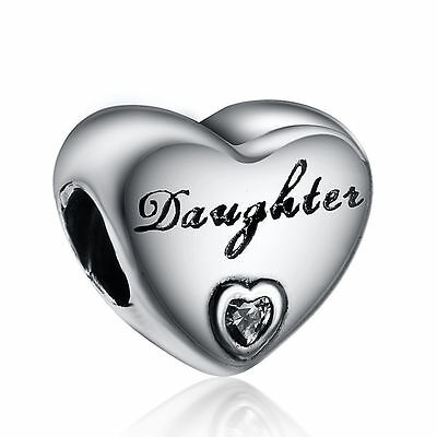 925 sterling silver heart  DAUGHTER charm bead for european charm bracelet fr23