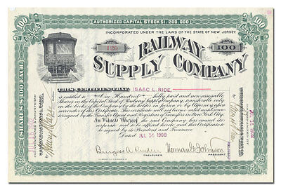 Railway Supply Company Stock Certificate (New Jersey, 1902)