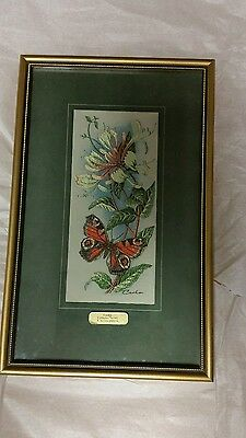 Cash's silk picture Peacock Butterfly and Honeysuckle