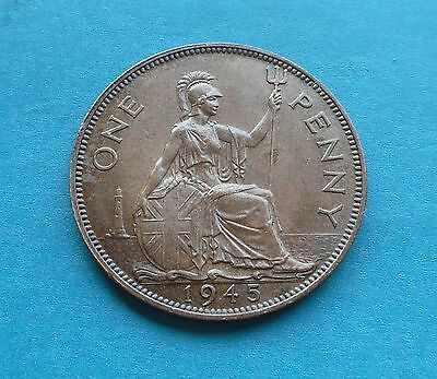 George VI 1945 Penny, A/Unc. Great Condition.