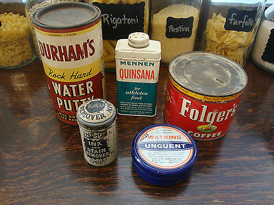 Large Lot Of 5 Assorted Vintage Tins - Great Collection!!  Lot #15