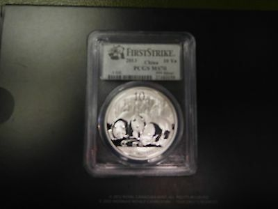 2013 10Y China 1oz .999 Fine Silver Panda First Strike Coin PCGS MS 70