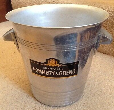Unusual Vintage French Pommery Greno Champagne Ice Bucket Metal Cooler Bar Party