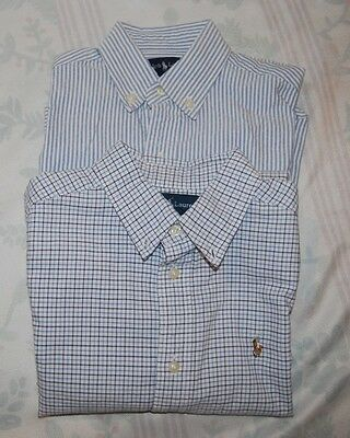 2 Boys Ralph Lauren Polo striped/tattersall oxford button down shirts. Size 6