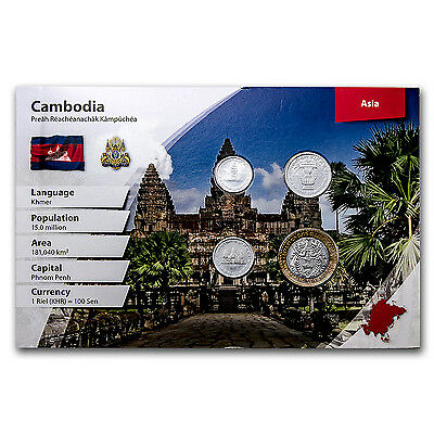 1994 Cambodia 50-500 Riels Coin Set Unc (Landscape Packaging) - SKU #96917