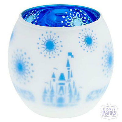 Disney Parks Frosted Glass Castle with Blue Interior Votive Candle Holder