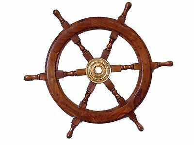 "24"" Wooden Nautical Ship Steering Wheel Pirate Ships Decor Fishing Wall Boat"