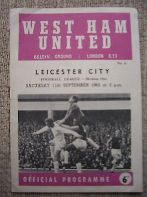 1965.....WEST HAM v LEICESTER CITY.....Division One.....Football Programme