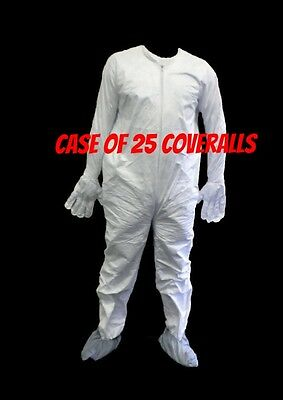 NEW Case of 25 DuPont Tyvek White Large Disposable Coverall w/ GLOVES and BOOTS