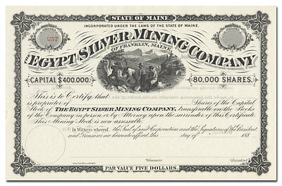 Egypt Silver Mining Company Stock Certificate (Franklin, Maine)