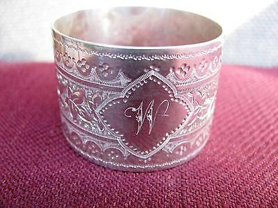 Victorian Silver Napkin Ring. Beautifully Engraved. London 1884 - 1885.