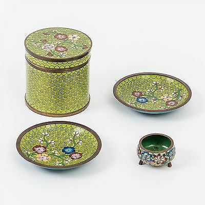 Antique Chinese Green Enamel Cloisonne Tea Caddy, 2 Matching Dishes +Mini Pot