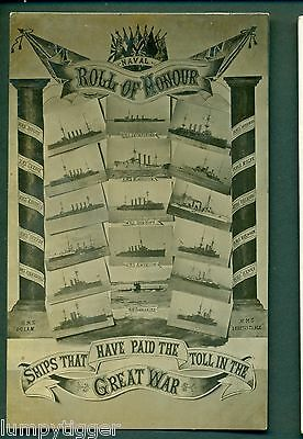 SHIPS THAT HAVE PAID THE TOLL IN THE GREAT WAR,ROLL OF HONOUR,vintage postcard