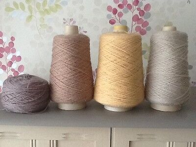 4 X PART CONES 4-ply YARN/WOOL/ACRYLIC 640g TOTAL, MACHINE & HAND KNITTING