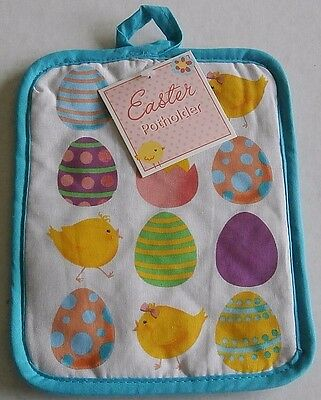 """Easter Potholder  COLORFUL EASTER EGGS AND CHICKS  100% Cotton  7"""" X 9"""""""