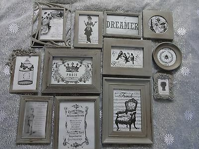 Grey / Vintage French Look / Shabby Chic Pictures/Frames x 12