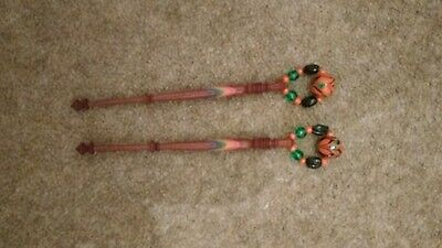 pair of wooden stripes painted lace bobbins lacemaking