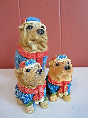 Shar Pei family of 3 dog figurines collectible animals