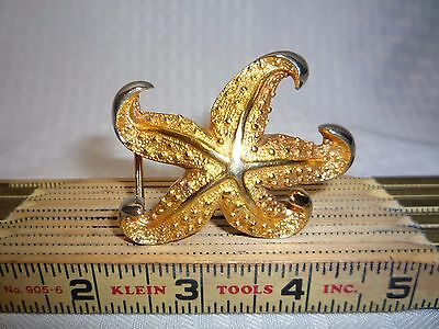 Vintage Terry Stack Belt Buckle Silver and Gold Toned Starfish Design