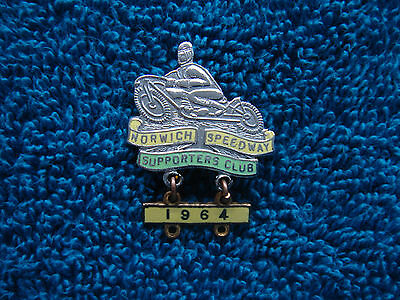Norwich Speedway Supporters Club Enamel Pin Badge with 1964 Year Bar