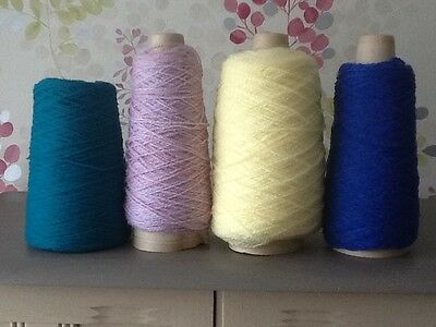 4 X PART CONE 4-ply ACRYLIC YARN/WOOL/ACRYLIC 460g TOTAL,MACHINE & HAND KNITTING