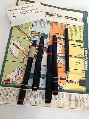Vintage rOtring Technical Drawing Pens X4 Rotring & Rubber Refills & Pencil
