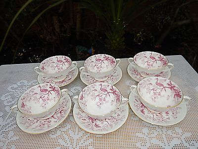 Vintage Coalport Pink Cairo two handles cups and saucers
