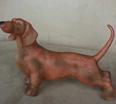 "Large 7.5""L Vintage Porcelain Bisque Dachshund Dog Figurine Excellent Condition!"