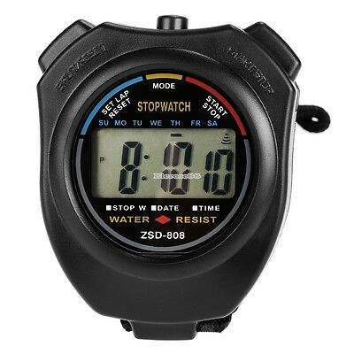 LCD Stopwatch Digital Sports Stop Watch Chronograph Count Alarm Timer ElR8