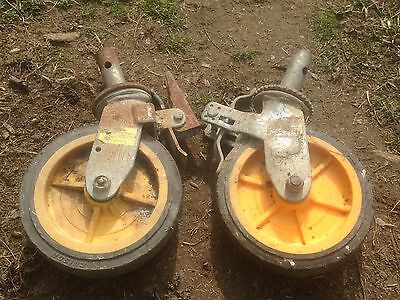 """Scaffold Pair  8"""" Rubber Caster Wheel with  Locking Brakes swivel"""
