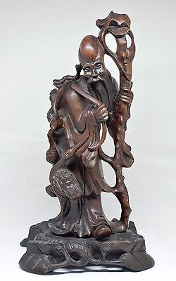 Vintage Chinese Wood Carved Figurine ~ 12'' Tall ~