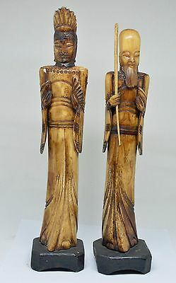 Vintage Chinese Hand Carved Figurines (2)  ~ 11'' Tall ~