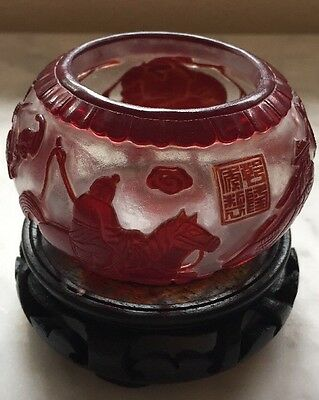 Chinese Peking Glass Red And Clear With Marking Antique