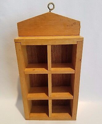 Vintage Handmade Dollhouse Miniature Hanging Wood Shadow Box Display Cabinet