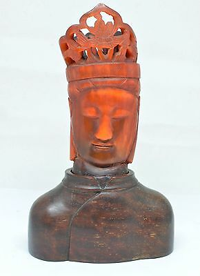 "Antique Kwan-Yin Hand Carved Head on Wooden Stand ~ Marked""China"" ~ 6'' Tall~"