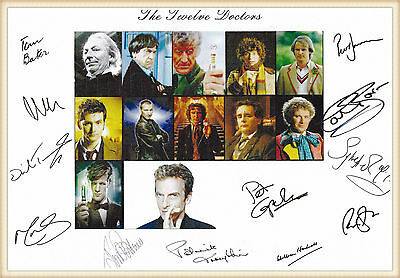 Doctor Who, the 12 doctors, signed print,choice of mounts / frames / sizes, mint