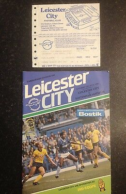 Leicester City V Tottenham 1985 Division One Programme & Ticket Stub